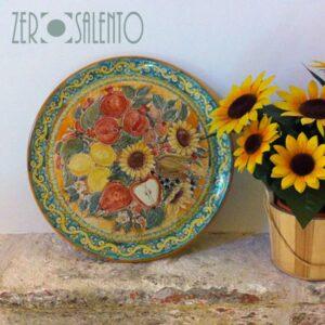 Piatto-Piano-Centrotavola-in-Terracotta-dipinto-a-mano-Frutta-e-Girasoli