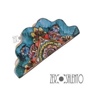 Porta Tovaglioli Triangolo Salento dipinto a mano in Terracotta - by ZeroSalento