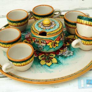 Tazzina da Caffe colorata in terracotta con Guantiera e Zuccheriera Ceramica Salento Ter012A