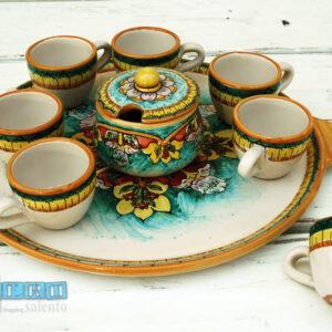 Tazzina da Caffe colorata in terracotta con Guantiera e Zuccheriera Set Copleto Vendita Online quasi Gratis