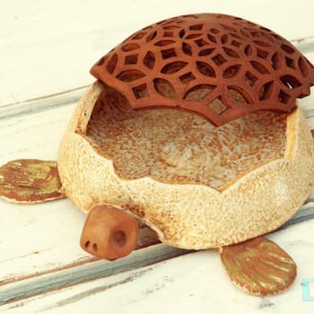 Terracotta Tartaruga Portaoggetti aperta