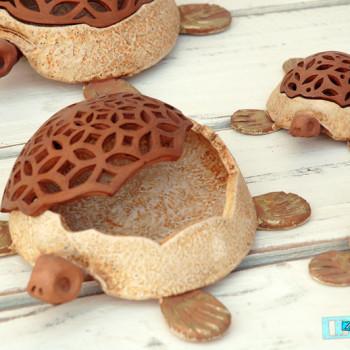 Terracotta Tartaruga Portaoggetti dimensioni 1