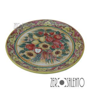 Piatto Piano in terracotta dipinto a mano con Melagrane Limoni e Girasoli TER056