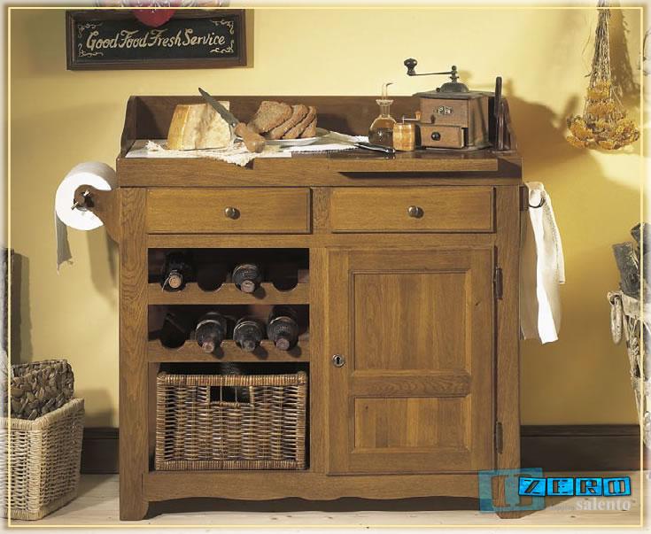 Tavolo lavoro rustico da Cucina in Rovere Grezzo con marmo e cesto ...