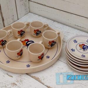 Tazzine da Caffe  in set da 6 con guantiera e piattini Colori e Tradizioni di Puglia