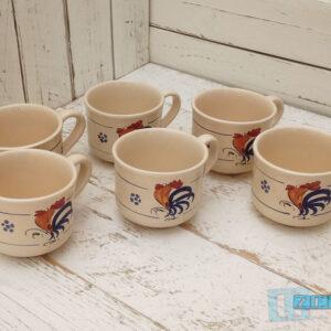 Servizio Tazza tè con manico terracotta con tipico galletto Salentino