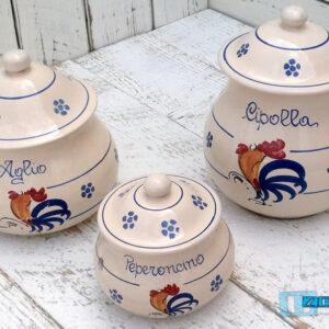 Contenitore Aglio - Peperoncino - Cipolla in Terracotta - Ceramica Gallo Salentinoda cucina in ceramica Salento