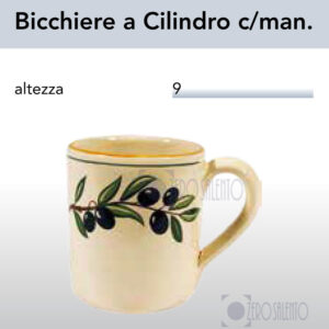 Bicchiere con manico a cilindro Ramo Olive Salentino by Zerosalento