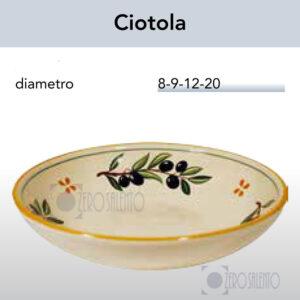 Ciotola in Terracotta Ceramica con Ramo Olive Salentino by Zerosalento