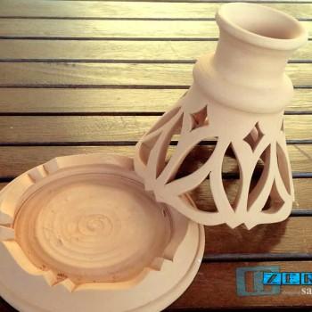 Porta Candele e Citronelle intagliata modello grezzo Ceramica Salento Ter067