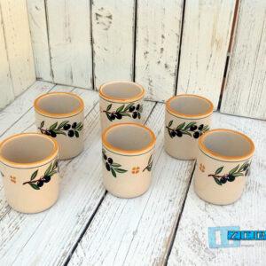 Servizio Bicchieri acqua in Terracotta Ceramica decoro olive senza manico