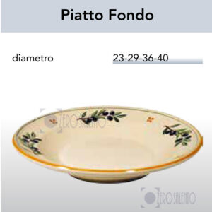 Piatto Fondo in Terracotta con Ramo Olive Salentino by Zerosalento