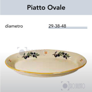 Piatto Ovale in Terracotta - Ceramica decoro Olive  Salentino by Zerosalento