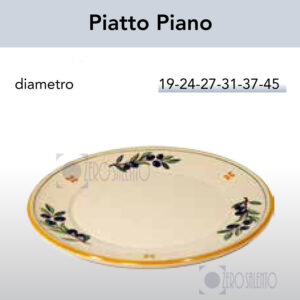 Piatto Piano in Terracotta con Ramo Olive Salentino by Zerosalento