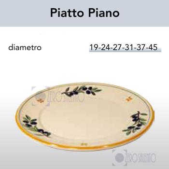 Piatto Piano in Terracotta con Ramo Olive Salentino by Zerosalento