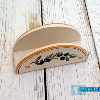 PortaTovaglioli Tondo smalto olive in Terracotta TERCOOL035