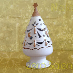 Addobbi albero Natale   Albero porta candele ceramica bianca