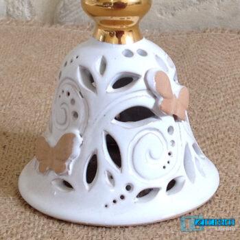 Campana di Natale in Terracotta- Intagliata a mano con impugnatura d'orata