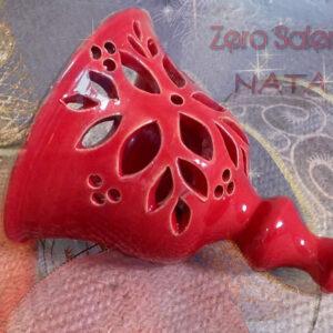Campana di Natale in Terracotta Salentina - Intagliata a mano e smaltalta rossa Salento