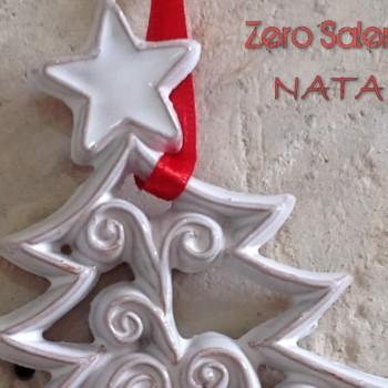 Ceramica Smalto Bianco Albero con Stella  per Albero di Natale
