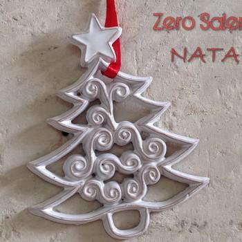 Ceramica Smalto Bianco Albero con Stella  per addobbi natalizi