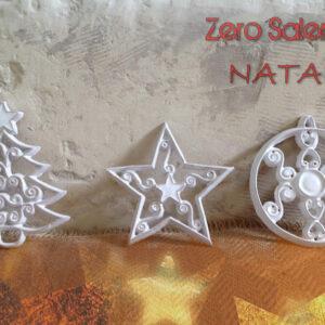 Ciondoli Natalizi in Terracotta smaltati bianchi per Albero di Natale