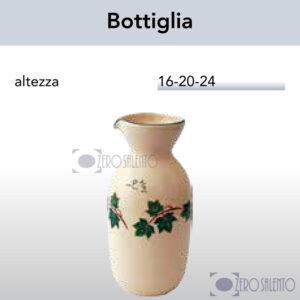 Brocca Bottiglia in Terracotta Ceramica con decoro Edera Salento