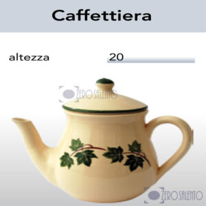 Caffettiera in Terracotta Ceramica con decoro Edera Salento