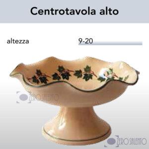 Centrotavola alto in Terracotta Ceramica con decoro Edera Salento