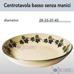 Centrotavola basso senza manici in Terracotta Ceramica con decoro Edera Salento