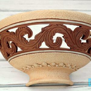 Lampada Applique bianca antichizzata e Terracotta naturale  mezzaluna a muro