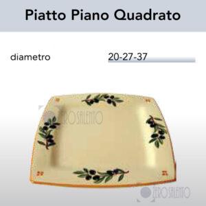 Piatto Piano Quadrato con Ramo Olive Salentino by Zerosalento