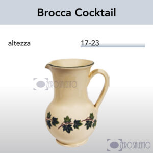 Brocca Cocktail in Terracotta Ceramica con decoro Edera Salento