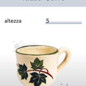 Tazza Caffè in Terracotta Ceramica con decoro Edera Salento