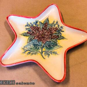 Porta Cioccolatini - Porta Biscotti Natalizi a forma di Stella di Natale con Fiori e Pigne by Zerosalento