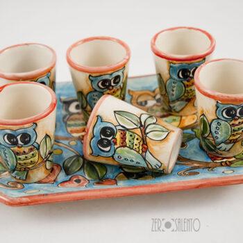 set-bicchieri-vassoio-limoncello e liquore -ceramica-civetta-01
