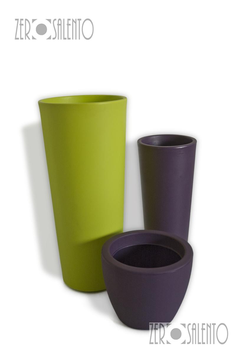 Vasi e fioriere telcom in resina conico liscio colore verde pistacchio for Vasi per arredo casa