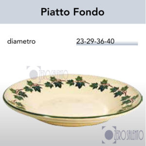 Piatto Fondo in Terracotta Ceramica con decoro Edera Salento