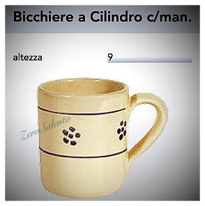 BICCHIERE con manico in Terracotta - Ceramica decoro Stelle Salentino