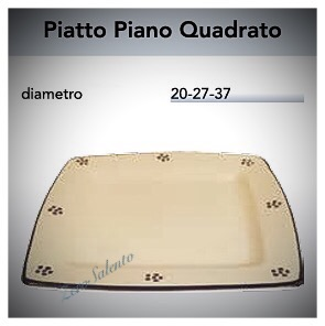 Piatto Piano Quadrato in Terracotta - Ceramica decoro Stelle Salento