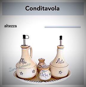 CONDITAVOLA Olio Aceto Sale Pepe con vassoio in Terracotta decoro Stelle Salento