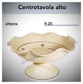 Centrotavola Alto Porta Frutta in Terracotta - Ceramica decoro Stelle Salento