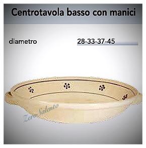 Centrotavola basso con manici Porta Frutta in Terracotta - Ceramica decoro Stelle Salento