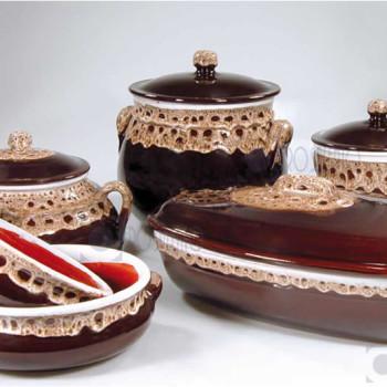 Pirofile per cucinare in Terracotta Ceramica serie Merletto by Zerosalento