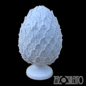 Pigna in Terracotta o Pumo Porta Fortuna colore Bianco Foglie Venate - Ceramica del Salento - by ZeroSalento