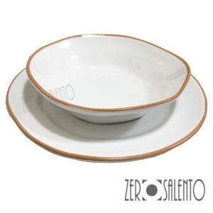 Piatto Fondo bianco e Piatto Piano bianco serie Deformè con bordi irregolari - by Zero Salento