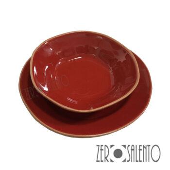 Piatto Fondo rosso con Piatto Piano rosso serie Deformè con bordi irregolari by ZeroSalento 1