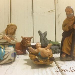 Pupi di Presepe da 10cm - Natività Natalizia - Sacra Famiglia - Asino e Bue -- 5 pezzi