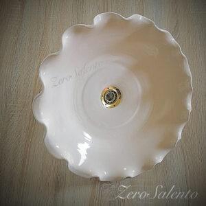Lampadario Piatto luce per lampada a soffitto in terracotta tinta unita beige diametro 40cm