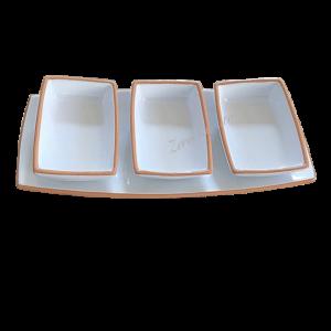Antipastiera moderna sushi terracotta ceramica bianca con 3 ciotole by ZeroSalento